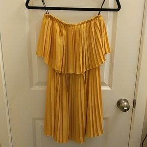 bebe - Yellow Pleated Strapless Cocktail Dress